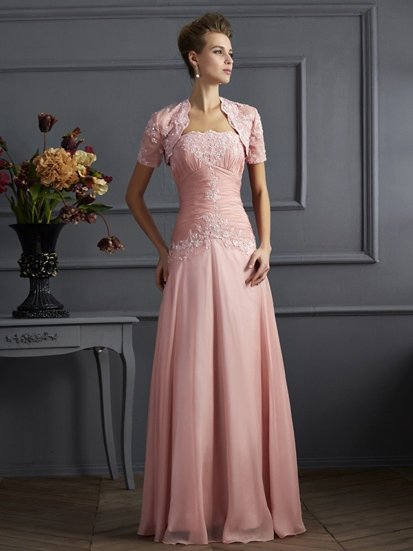 Chic A-Line Sweetheart Sleeveless Long Chiffon Mother of the Bride Dress