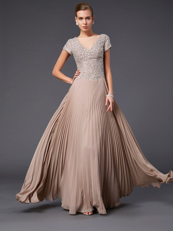 Chic A-Line V-neck Short Sleeves Long Chiffon Mother of the Bride Dress