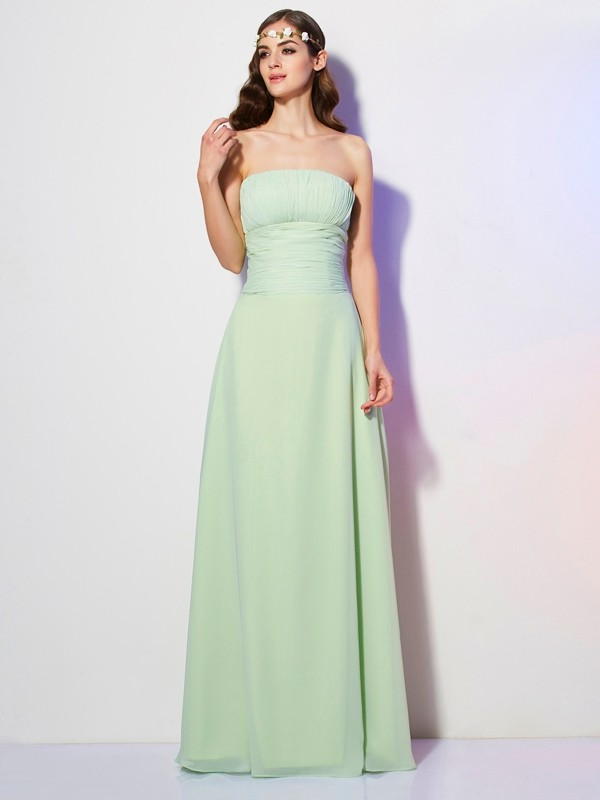 Chic A-Line Strapless Sleeveless Long Chiffon Bridesmaid Dress