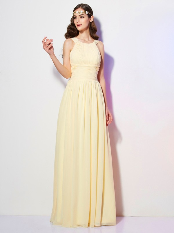 Chic A-Line Bateau Sleeveless Long Chiffon Bridesmaid Dress