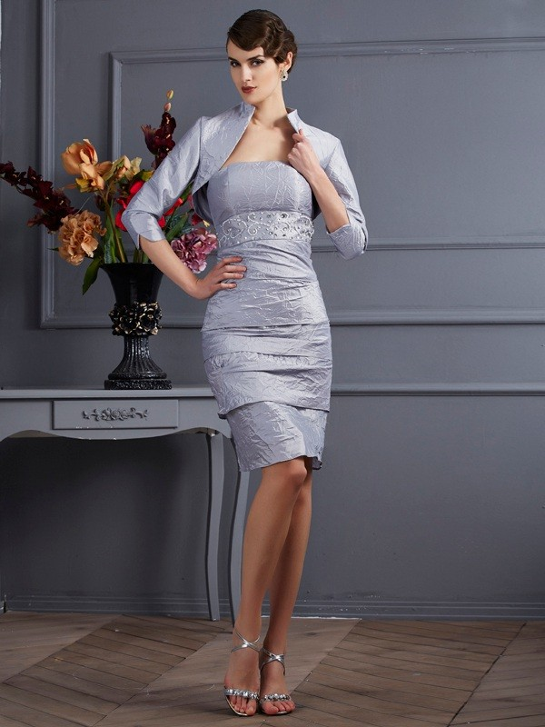 Stylish Sheath Strapless Sleeveless Short Taffeta Mother of the Bride Dress