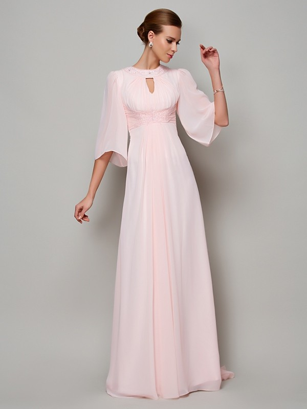 Stylish A-Line High Neck 1/2 Sleeves Long Chiffon Mother of the Bride Dress