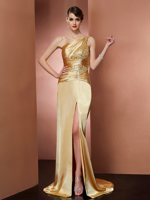 Stylish Sheath One-Shoulder Sleeveless Long Elastic Woven Satin Dress