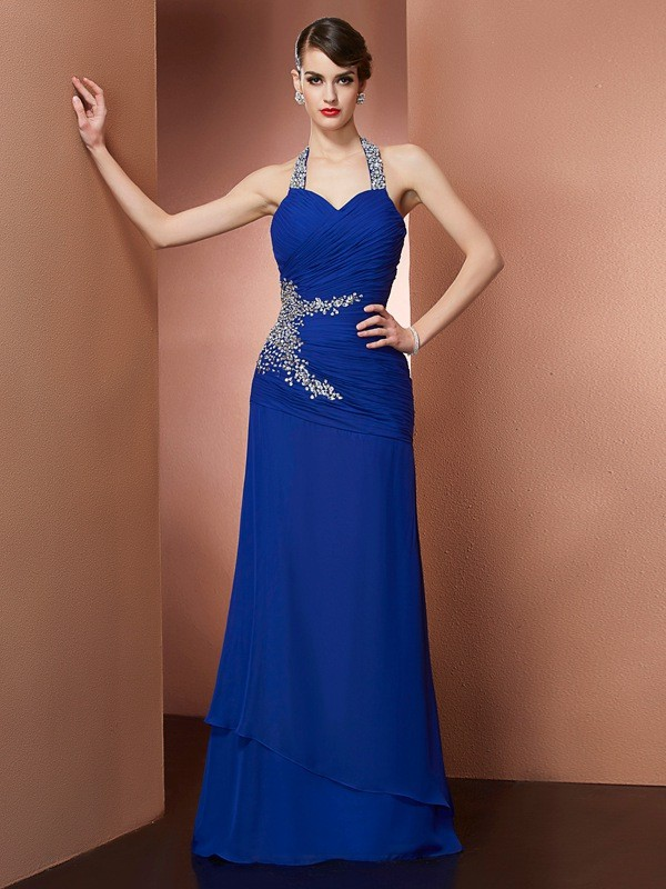 Stylish Sheath Halter Sleeveless Long Chiffon Dress
