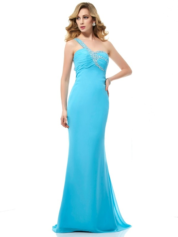 Stylish Mermaid One-Shoulder Sleeveless Long Chiffon Dress