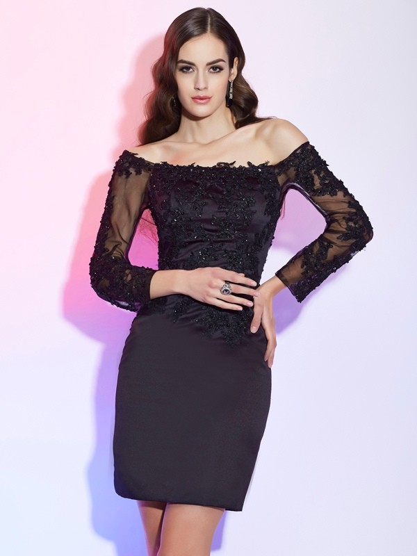 Stylish Sheath Off the Shoulder Long Sleeves Short Satin Mother of the Bride Dress