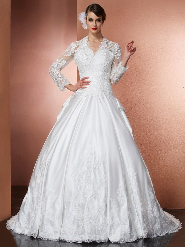 Stylish A-Line V-neck Long Sleeves Long Satin Wedding Dress