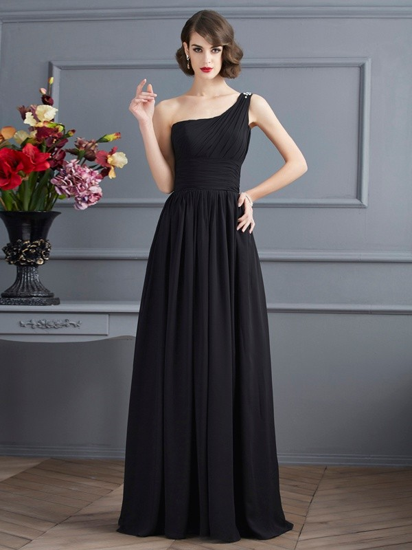 Fashion A-Line One-Shoulder Sleeveless Chiffon Long Mother of the Bride Dress