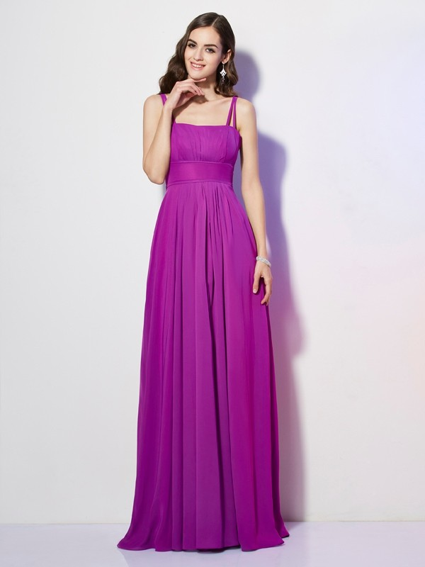 Fashion Sheath Spaghetti Straps Sleeveless Long Chiffon Bridesmaid Dress