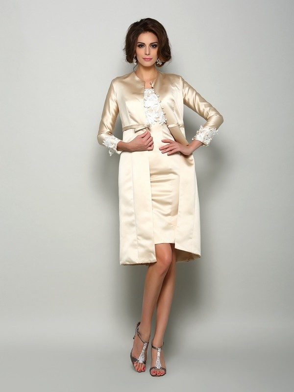 Fashion Sheath Square Short Sleeves Short Satin Mother of the Bride Dress