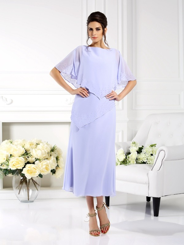 Fashion Sheath Bateau 1/2 Sleeves Long Chiffon Mother of the Bride Dress
