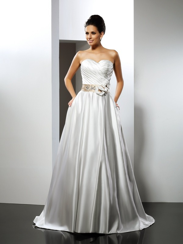 Exquisite A-Line Sweetheart Sleeveless Long Satin Wedding Dress