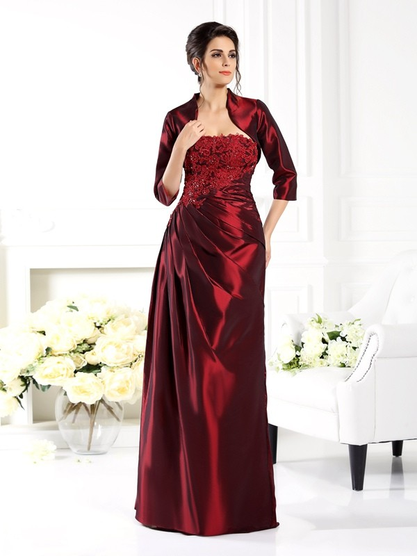 Exquisite A-Line Strapless 1/2 Sleeves Long Taffeta Mother of the Bride Dress