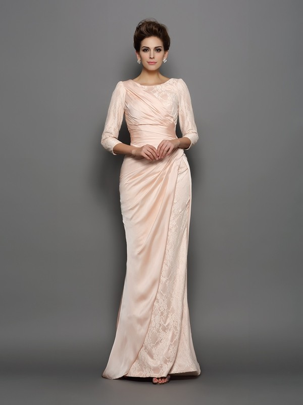 Exquisite Mermaid Bateau Lace 3/4 Sleeves Long Chiffon Mother of the Bride Dress