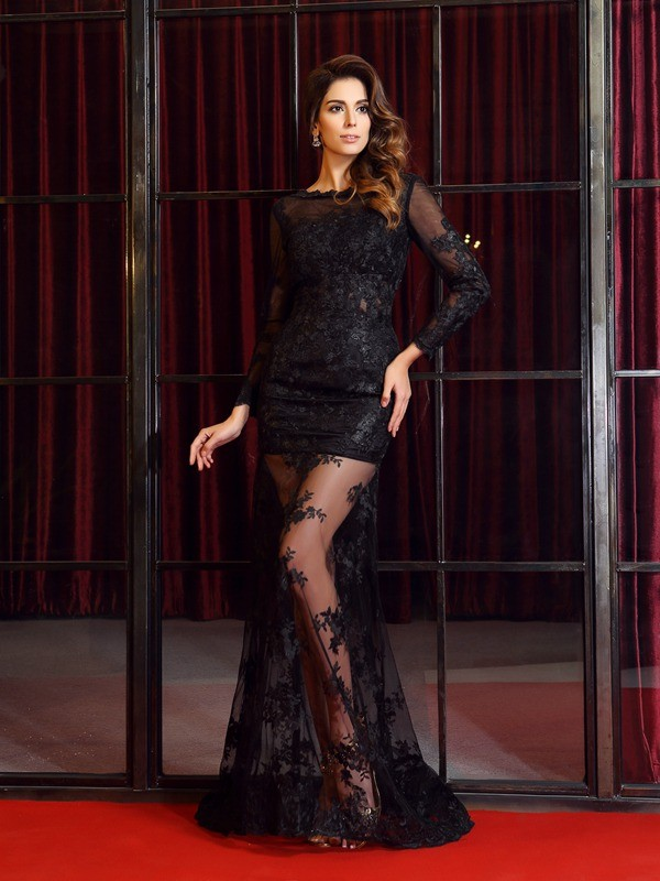 Exquisite Mermaid Bateau Long Sleeves Long Lace Dress