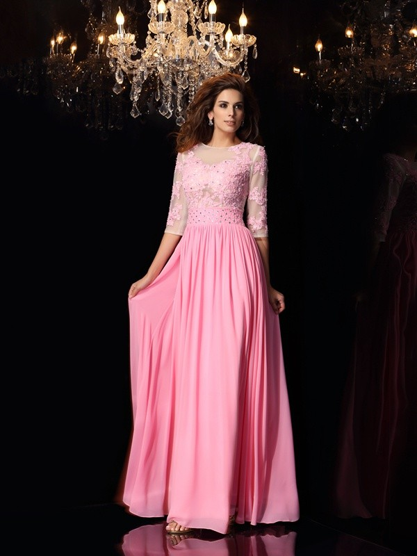 Exquisite A-Line Scoop 1/2 Sleeves Long Silk like Satin Dress