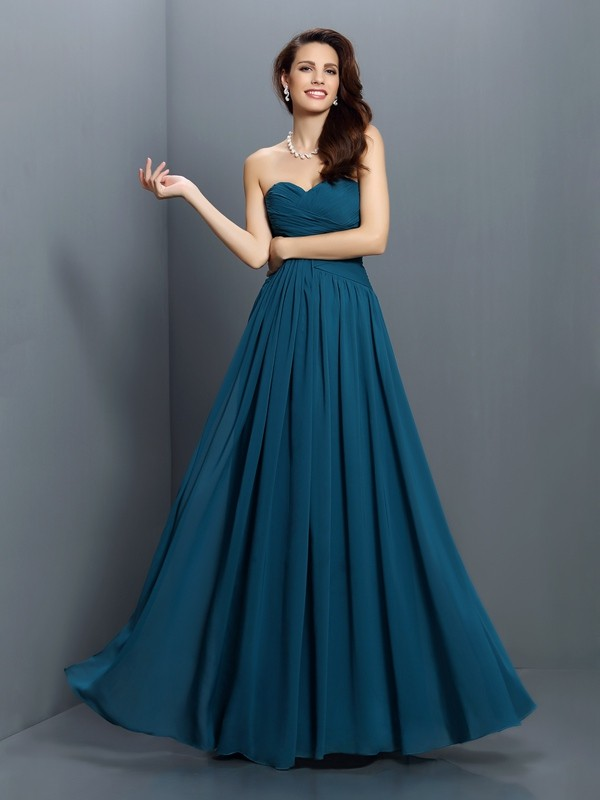 Exquisite A-Line Sweetheart Sleeveless Long Satin Bridesmaid Dress