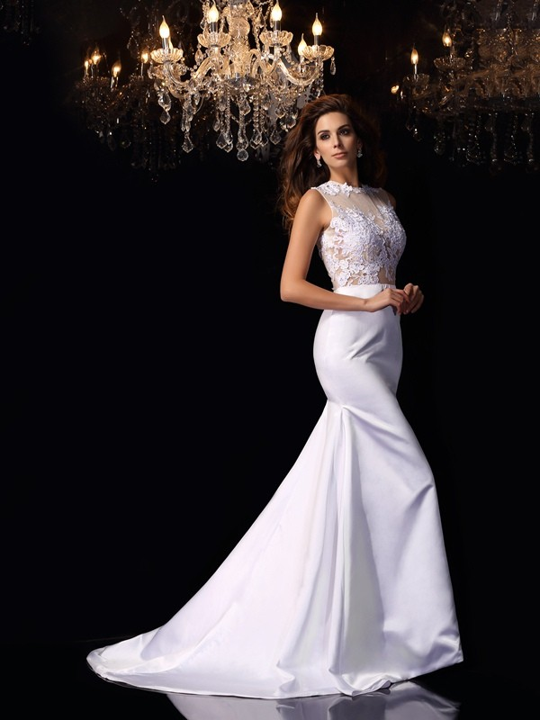 Exquisite Mermaid High Neck Sleeveless Long Satin Wedding Dress