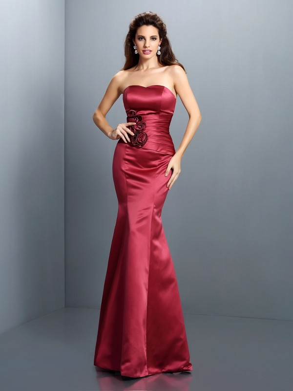 Charming Mermaid Strapless Sleeveless Long Satin Dress