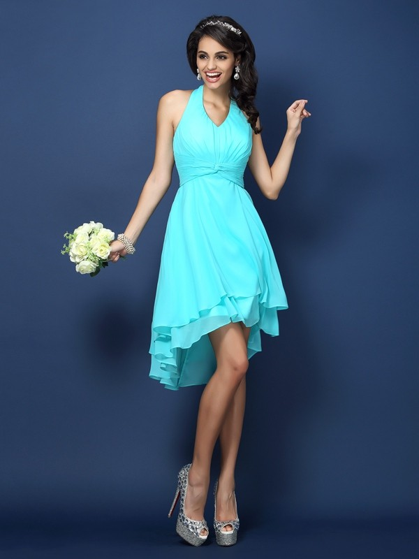 Charming A-Line Halter Sleeveless Short Chiffon Bridesmaid Dress