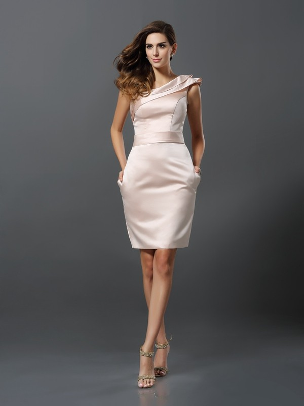 Charming Sheath One-Shoulder Sleeveless Short Satin Cocktail Dress