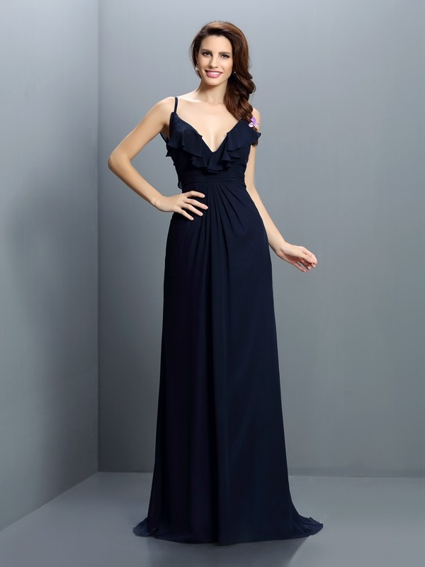 Charming A-Line Spaghetti Straps Sleeveless Long Chiffon Bridesmaid Dress