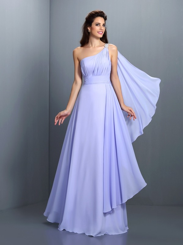 Charming A-Line One-Shoulder Sleeveless Long Chiffon Bridesmaid Dress