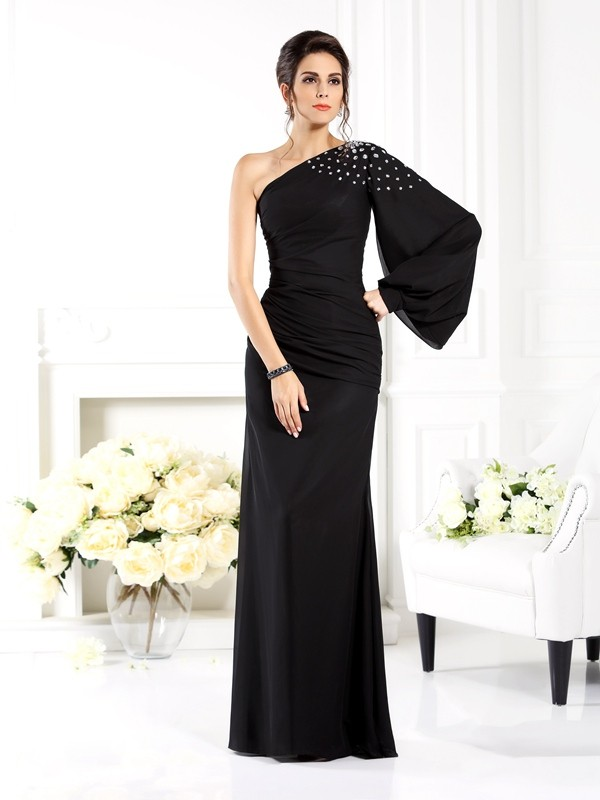 Classical Sheath One-Shoulder Long Sleeves Long Chiffon Mother of the Bride Dress
