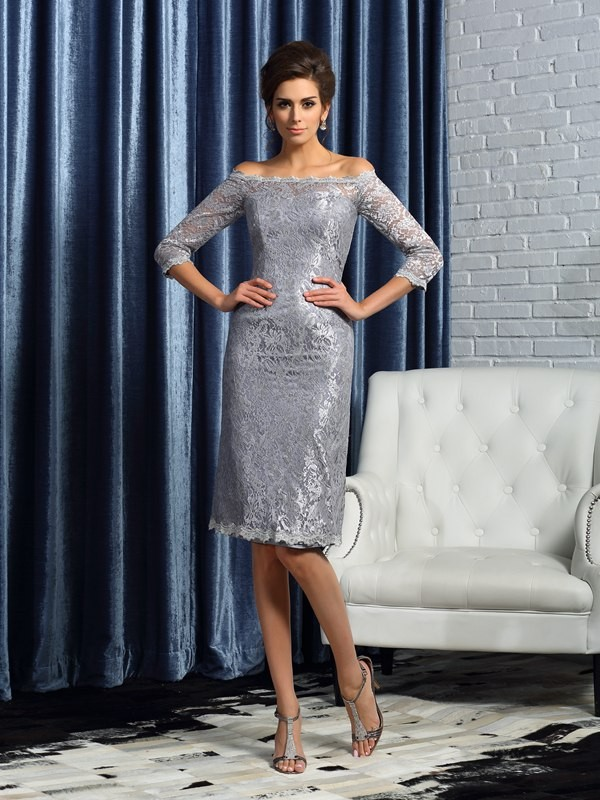 Classical Sheath Off-the-Shoulder Lace 1/2 Sleeves Short Satin Mother of the Bride Dress