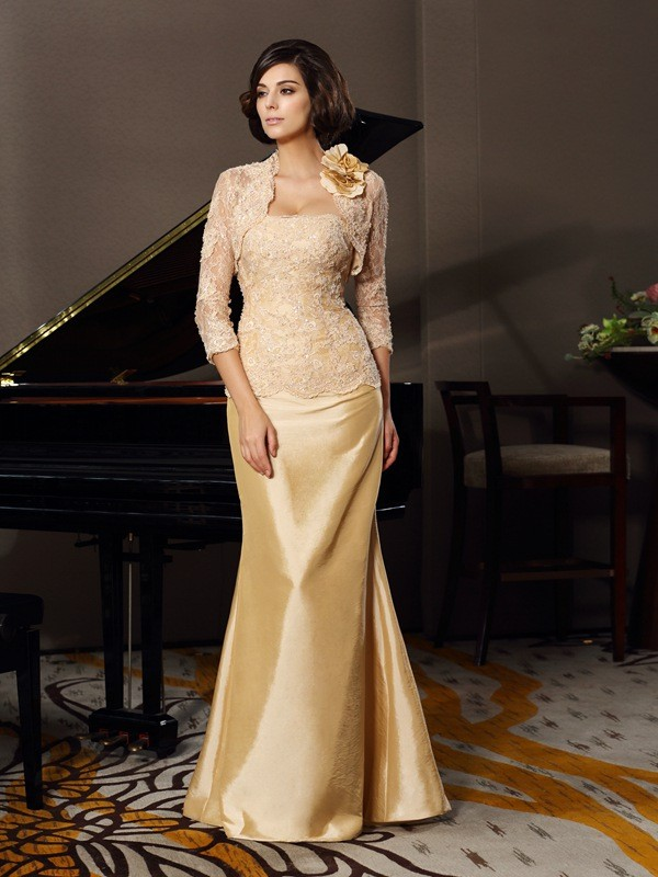 Classical Mermaid Sweetheart Lace Sleeveless Long Taffeta Mother of the Bride Dress