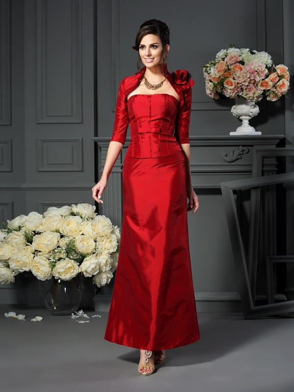 Classical A-Line Strapless Sleeveless Long Taffeta Mother of the Bride Dress