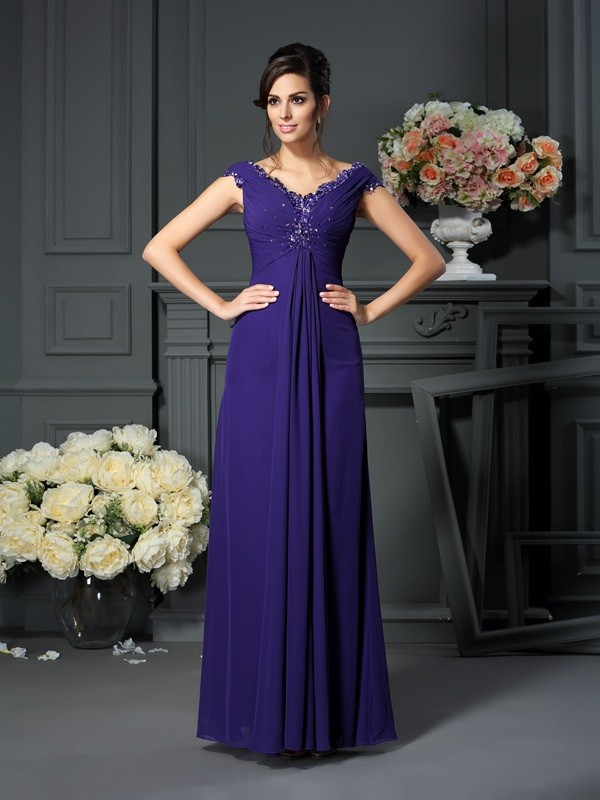 Classical A-Line V-neck Sleeveless Long Chiffon Mother of the Bride Dress