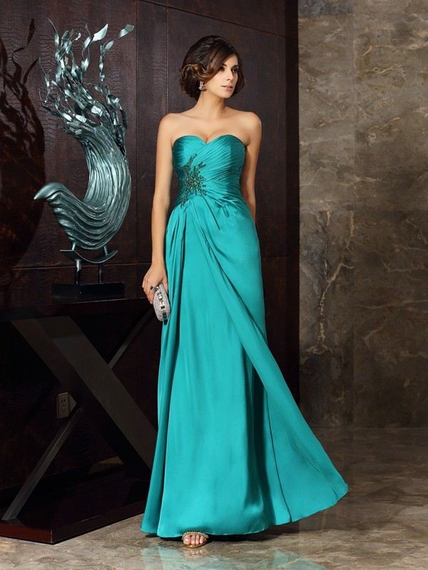 Classical Sheath Sweetheart Sleeveless Long Chiffon Mother of the Bride Dress