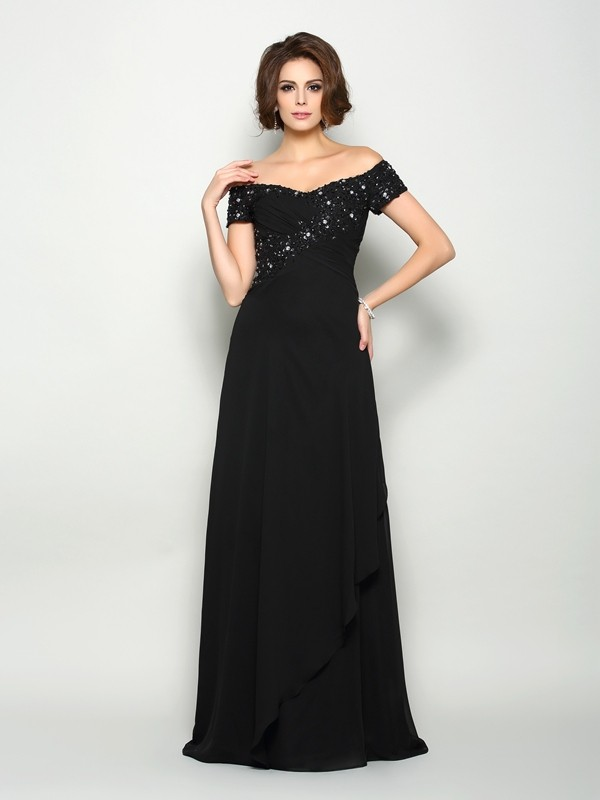Classical A-Line Off-the-Shoulder Short Sleeves Long Chiffon Mother of the Bride Dress