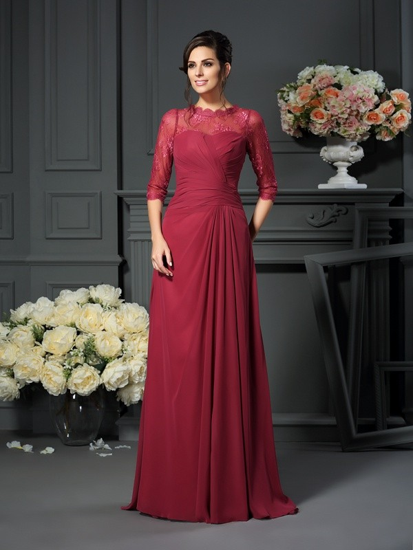 Classical A-Line Scoop 1/2 Sleeves Long Chiffon Mother of the Bride Dress