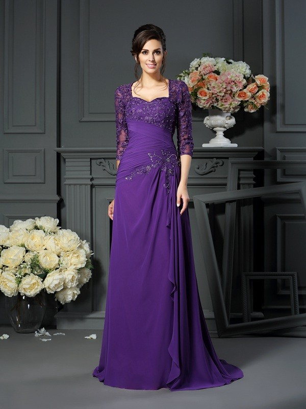Classical A-Line Sweetheart 1/2 Sleeves Long Chiffon Mother of the Bride Dress