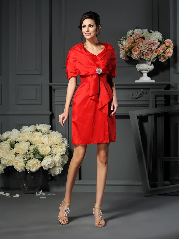 Classical A-Line V-neck Sleeveless Short Taffeta Mother of the Bride Dress