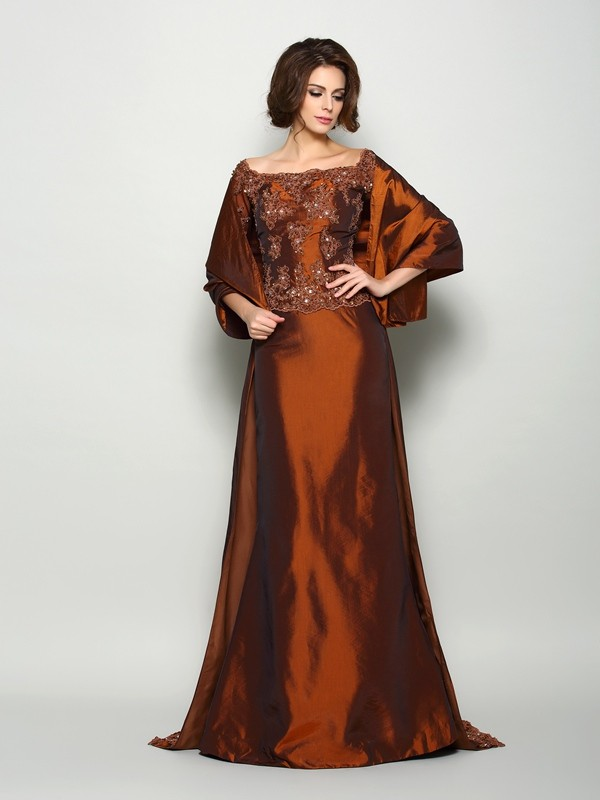 Fancy A-Line Off-the-Shoulder 1/2 Sleeves Long Taffeta Mother of the Bride Dress