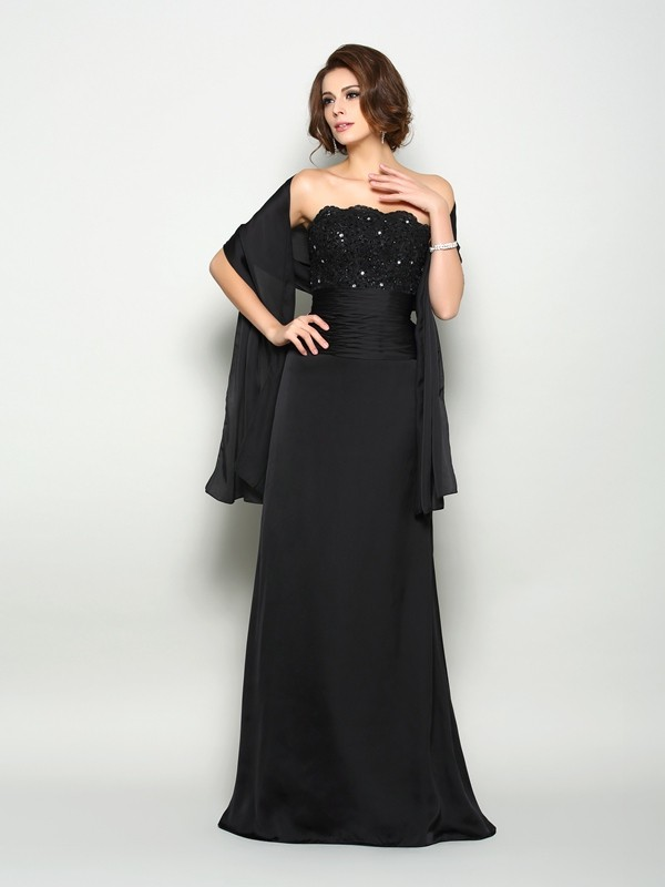 Fancy A-Line Strapless Sleeveless Long Chiffon Mother of the Bride Dress