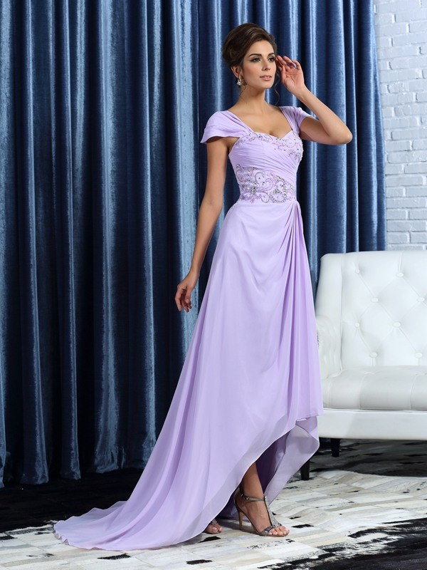 Fancy A-Line Straps Sleeveless High Low Chiffon Mother of the Bride Dress
