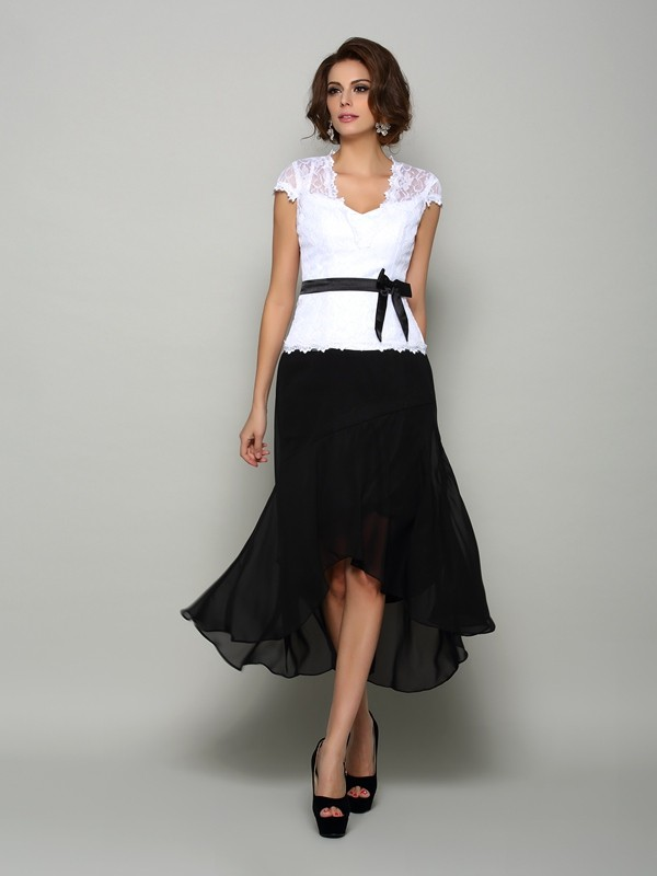 Fancy A-Line V-neck Sleeveless High Low Chiffon Mother of the Bride Dress