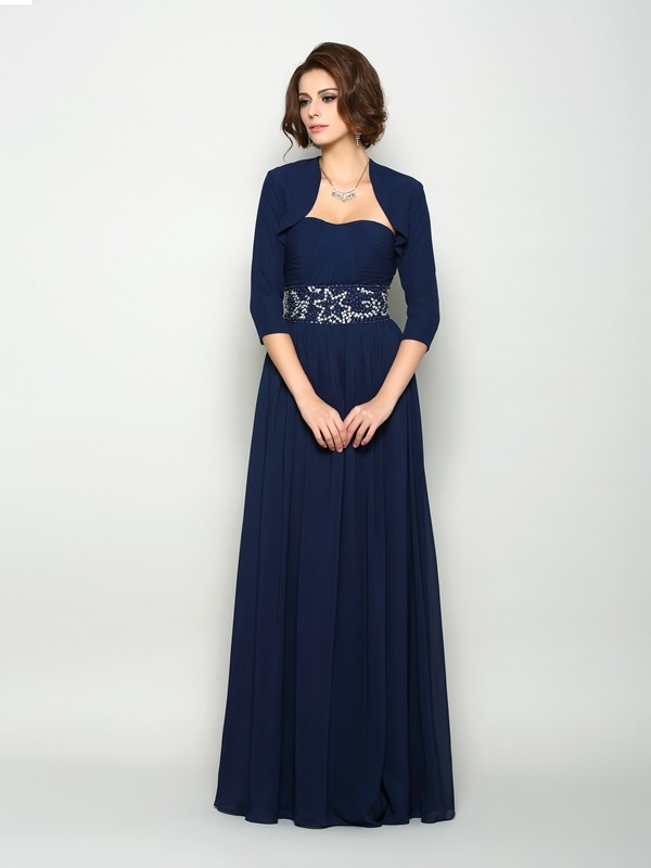 Fancy A-Line Sweetheart Sleeveless Long Chiffon Mother of the Bride Dress