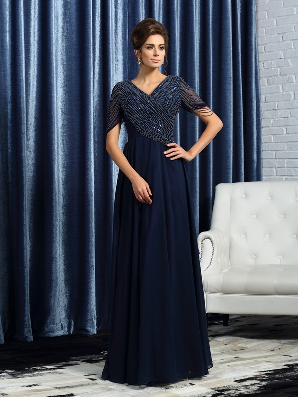 Fancy A-Line V-neck Short Sleeves Long Chiffon Mother of the Bride Dress
