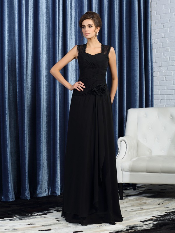 Fancy A-Line Straps Sleeveless Long Chiffon Mother of the Bride Dress
