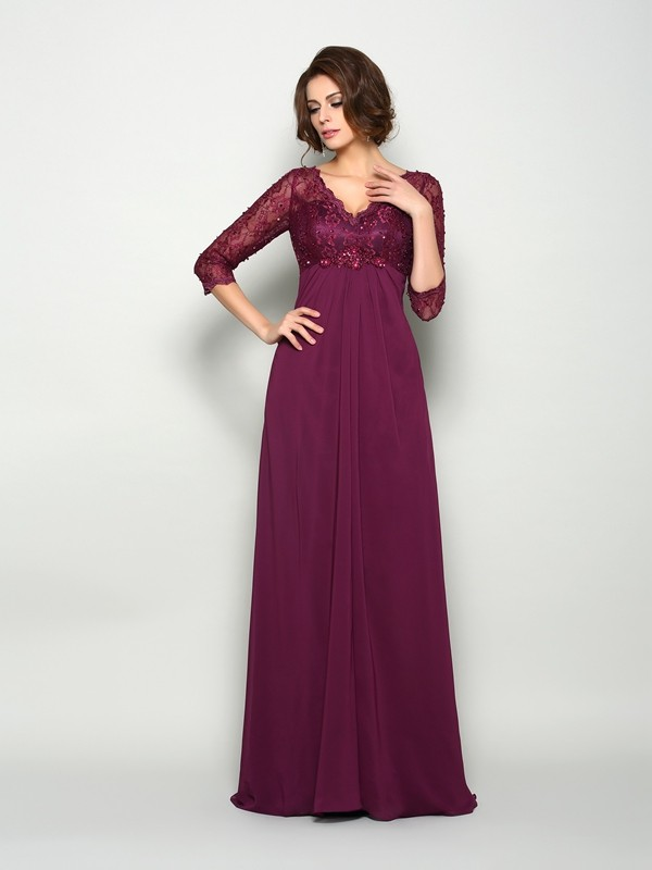 Fancy A-Line V-neck 3/4 Sleeves Long Chiffon Mother of the Bride Dress