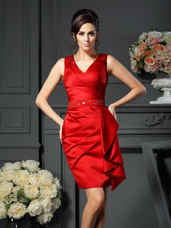 Fancy Sheath V-neck Sleeveless Short Satin Mother of the Bride Dress