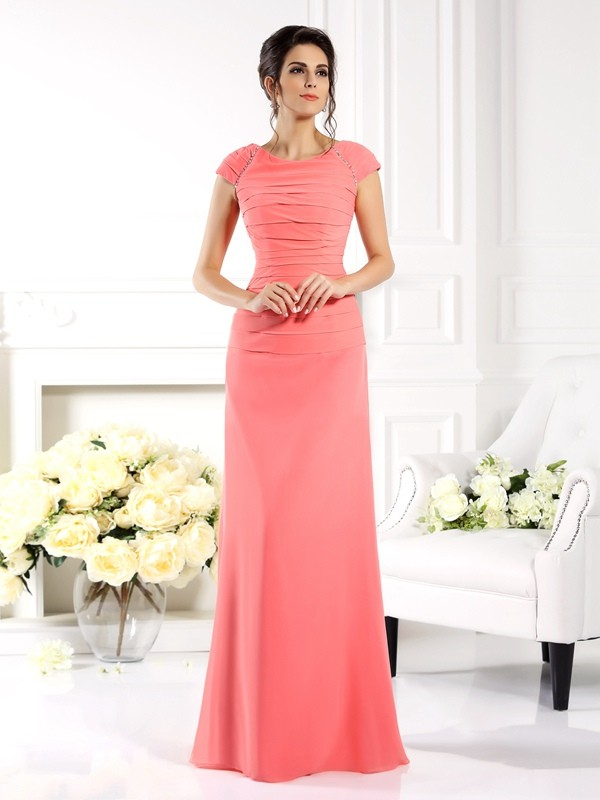 Fancy A-Line Bateau Short Sleeves Long Chiffon Mother of the Bride Dress