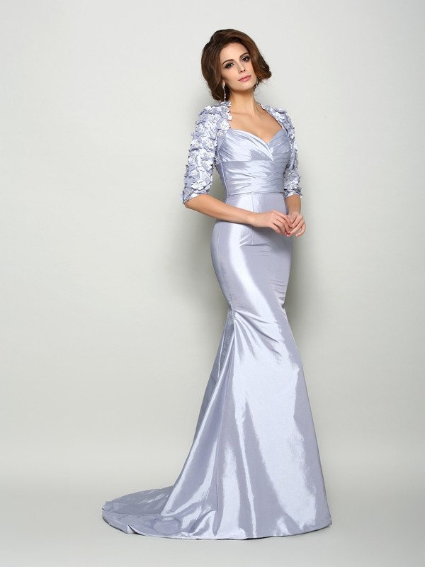 Fancy Mermaid Sweetheart 1/2 Sleeves Long Taffeta Mother of the Bride Dress