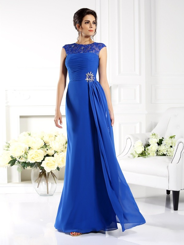 Fancy A-Line Bateau Sleeveless Long Chiffon Mother of the Bride Dress