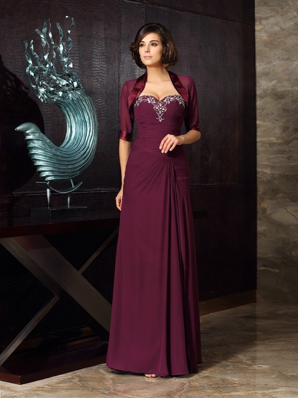 Fancy Sheath Sweetheart Sleeveless Long Chiffon Mother of the Bride Dress
